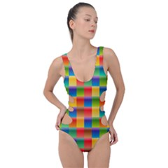 Background Colorful Abstract Side Cut Out Swimsuit