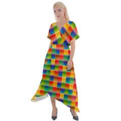 Background Colorful Abstract Cross Front Sharkbite Hem Maxi Dress