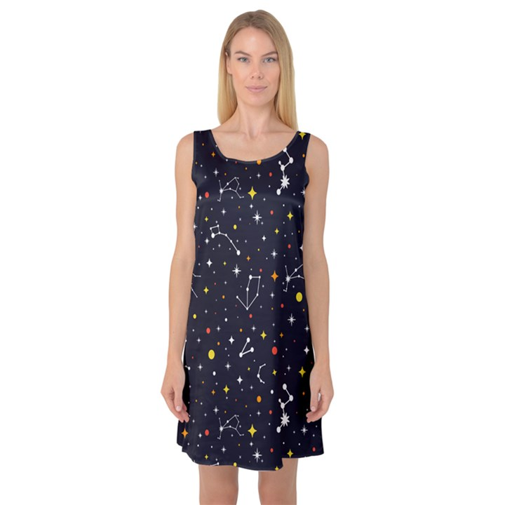 Galaxy Constellation Sleeveless Satin Nightdress