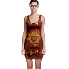 Beautiful Heart With Leaves Bodycon Dress