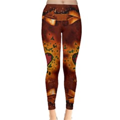 Beautiful Heart With Leaves Leggings