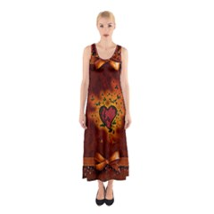 Beautiful Heart With Leaves Sleeveless Maxi Dress