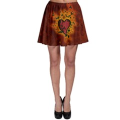 Beautiful Heart With Leaves Skater Skirt