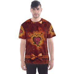 Beautiful Heart With Leaves Men s Sports Mesh Tee