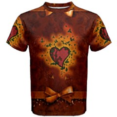 Beautiful Heart With Leaves Men s Cotton Tee