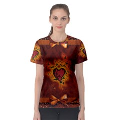 Beautiful Heart With Leaves Women s Sport Mesh Tee
