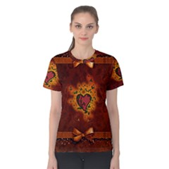 Beautiful Heart With Leaves Women s Cotton Tee