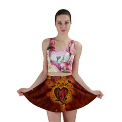 Beautiful Heart With Leaves Mini Skirt