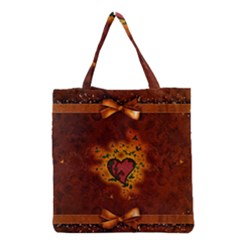 Beautiful Heart With Leaves Grocery Tote Bag
