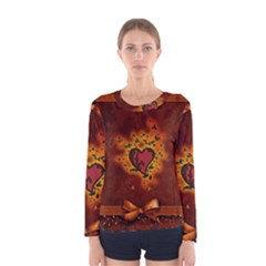 Beautiful Heart With Leaves Women s Long Sleeve Tee