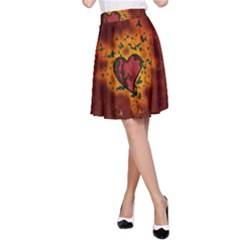 Beautiful Heart With Leaves A-Line Skirt