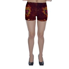 Beautiful Heart With Leaves Skinny Shorts