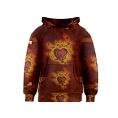 Beautiful Heart With Leaves Kids  Pullover Hoodie