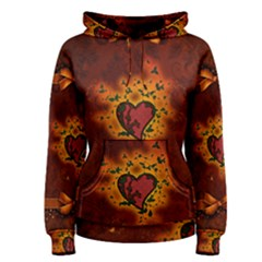 Beautiful Heart With Leaves Women s Pullover Hoodie