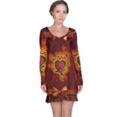Beautiful Heart With Leaves Long Sleeve Nightdress