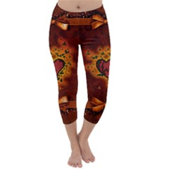 Beautiful Heart With Leaves Capri Winter Leggings  by FantasyWorld7