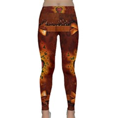 Beautiful Heart With Leaves Classic Yoga Leggings