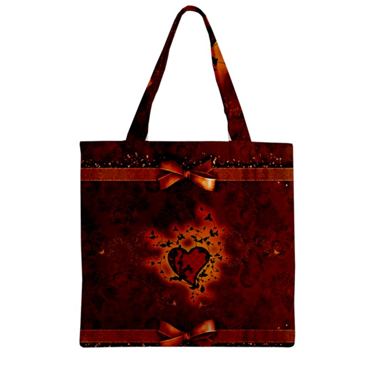 Beautiful Heart With Leaves Zipper Grocery Tote Bag