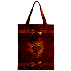 Beautiful Heart With Leaves Zipper Classic Tote Bag