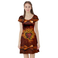 Beautiful Heart With Leaves Short Sleeve Skater Dress