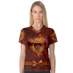 Beautiful Heart With Leaves V-Neck Sport Mesh Tee