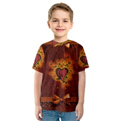 Beautiful Heart With Leaves Kids  Sport Mesh Tee