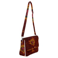 Beautiful Heart With Leaves Shoulder Bag with Back Zipper