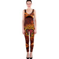 Beautiful Heart With Leaves One Piece Catsuit
