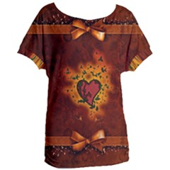 Beautiful Heart With Leaves Women s Oversized Tee