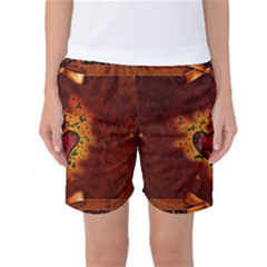 Beautiful Heart With Leaves Women s Basketball Shorts