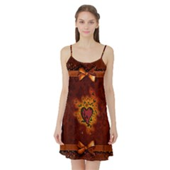 Beautiful Heart With Leaves Satin Night Slip