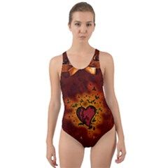Beautiful Heart With Leaves Cut-Out Back One Piece Swimsuit