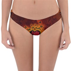 Beautiful Heart With Leaves Reversible Hipster Bikini Bottoms