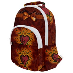 Beautiful Heart With Leaves Rounded Multi Pocket Backpack