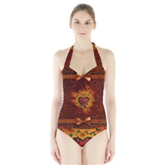 Beautiful Heart With Leaves Halter Swimsuit