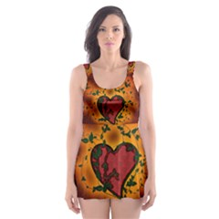 Beautiful Heart With Leaves Skater Dress Swimsuit