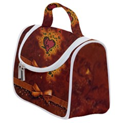 Beautiful Heart With Leaves Satchel Handbag