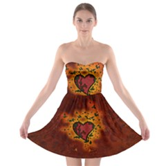 Beautiful Heart With Leaves Strapless Bra Top Dress