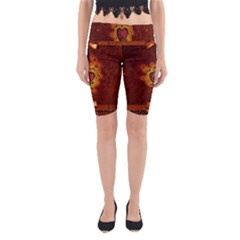 Beautiful Heart With Leaves Yoga Cropped Leggings