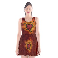 Beautiful Heart With Leaves Scoop Neck Skater Dress