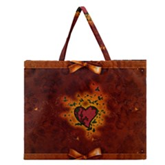 Beautiful Heart With Leaves Zipper Large Tote Bag by FantasyWorld7