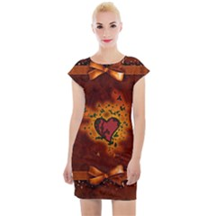 Beautiful Heart With Leaves Cap Sleeve Bodycon Dress