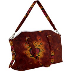 Beautiful Heart With Leaves Canvas Crossbody Bag