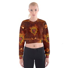 Beautiful Heart With Leaves Cropped Sweatshirt