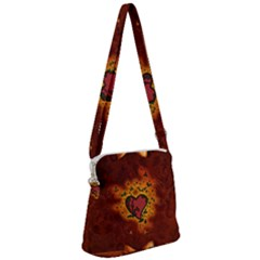 Beautiful Heart With Leaves Zipper Messenger Bag