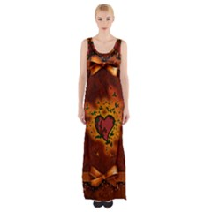Beautiful Heart With Leaves Thigh Split Maxi Dress