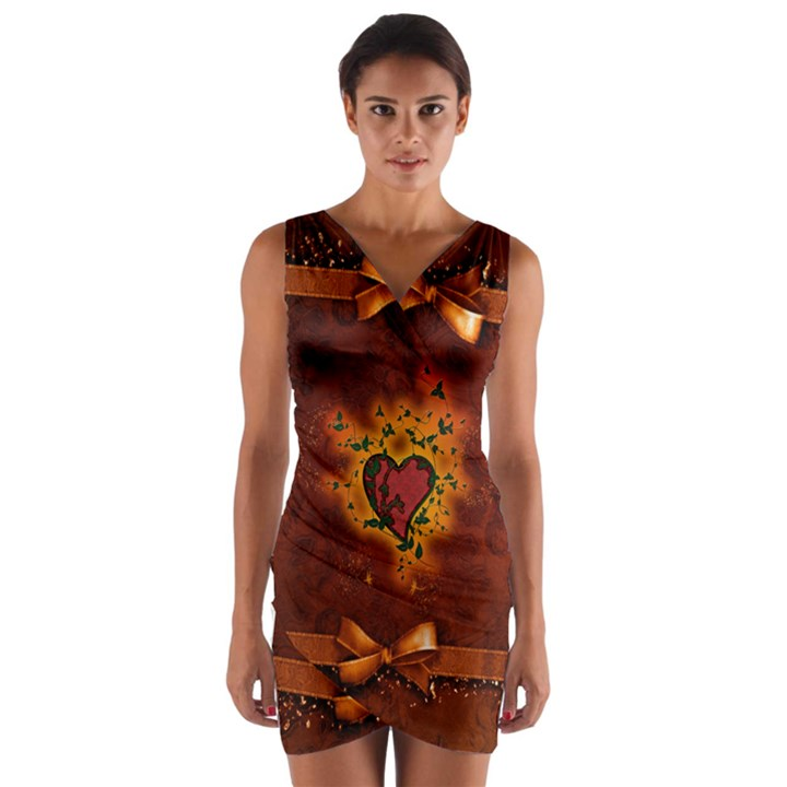 Beautiful Heart With Leaves Wrap Front Bodycon Dress