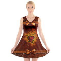 Beautiful Heart With Leaves V-Neck Sleeveless Dress