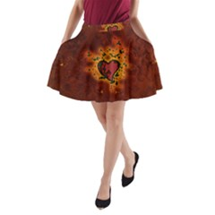 Beautiful Heart With Leaves A-Line Pocket Skirt