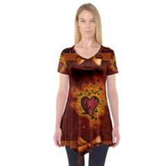 Beautiful Heart With Leaves Short Sleeve Tunic
